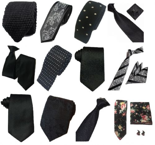 Black Collection Woven Paisley Jacquard Silk Knit Satin Tie Wedding lot